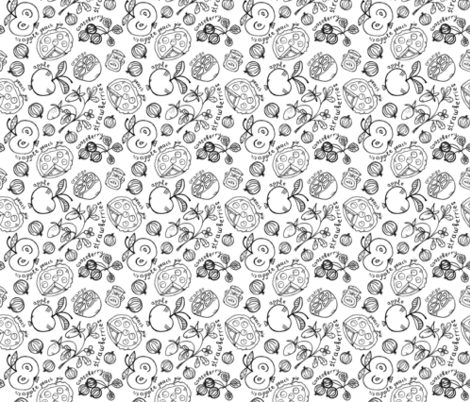Black and white coloring. Fruits and berries, pies with milk fabric by katrinkastem on Spoonflower - custom fabric