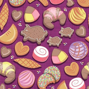 Mexican Sweet Bakery Frenzy // small scale // pink background // pastel colors pan dulce