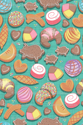 Mexican Sweet Bakery Frenzy // small scale // teal background // pastel colors pan dulce