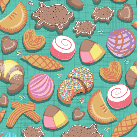 Mexican Sweet Bakery Frenzy // small scale // teal background // pastel colors pan dulce fabric by selmacardoso on Spoonflower - custom fabric
