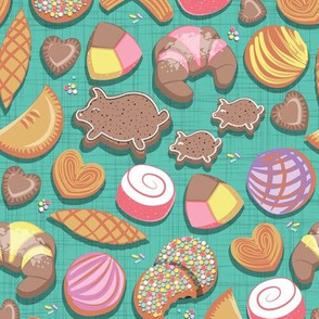 Mexican Sweet Bakery Frenzy // teal background // pastel colors pan dulce