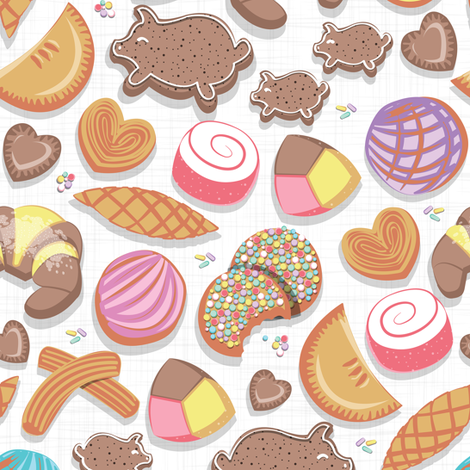 Mexican Sweet Bakery Frenzy // small scale // pink background // white pan dulce fabric by selmacardoso on Spoonflower - custom fabric
