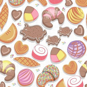 Small scale // Mexican Sweet Bakery Frenzy // white background // pastel colors pan dulce