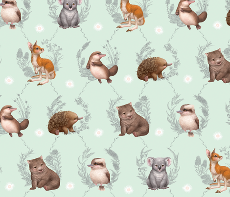 Little Aussie Friends - Large Animal Print - Mint fabric by elisemillustration on Spoonflower - custom fabric