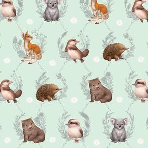 Little Aussie Friends - Large Animal Print - Mint