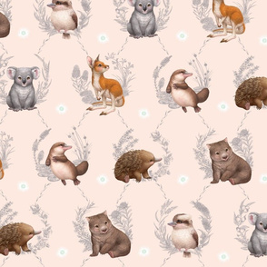 Little Aussie Friends -Large Animal Print - Peach
