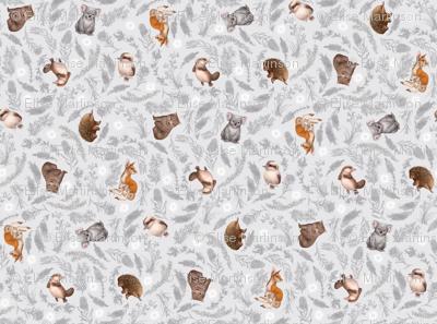 Little Aussie Friends - Small Animal Scatter Print - Grey