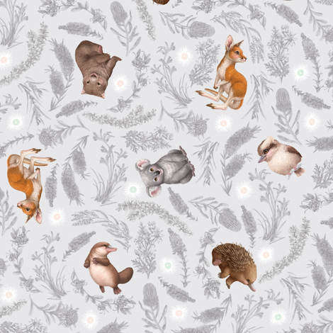 Little Aussie Friends - Small Animal Scatter Print - Grey fabric by elisemillustration on Spoonflower - custom fabric
