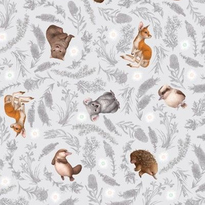 Little Aussie Friends - Small Animal Scatter Print - Grey