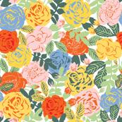 Retro roses on white
