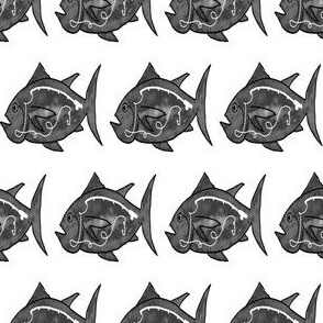 FI_7500_A Deep Sea Fish with Rod Decor- Black and White
