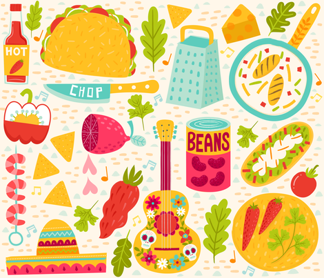 I'm taco kind of gal  fabric by livwan on Spoonflower - custom fabric
