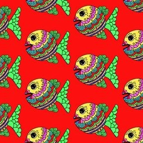 "FI_7501_C ""Happy Fish"" with the whimsical decor in bright colors ocean red  background"