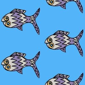"FI_7503_B ""Hi Ya' There Fish"" with zigzags of flame pattern and circles gray and purple fish with yellow eyes and blue background"