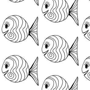 """FI_7504__L """"Waves and Swirl Fish"""" black and white"""
