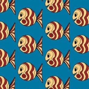 "FI_7504_C ""Waves and Swirl Fish"" vanilla and auburn fish on dark cornflower blue background"