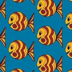 "FI_7504_D ""Waves and Swirl Fish"" goldenrod and auburn fish on dark cornflower blue background"