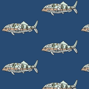"FI_7505_D ""Trout"" with seascape image of sailboat and pine trees and clouds along the rocky shoreline on navy blue background"
