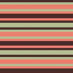 BNS1 - Horizontal Stripe in Moss Green - Coral Orange - Brown