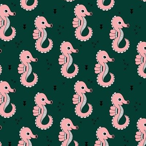 Sea horse baby geometric ocean sea life illustration design green blush pink Small