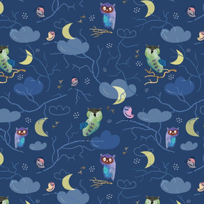 Owls at Night (on dark)