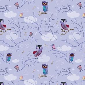 Owls at Night (on violet)
