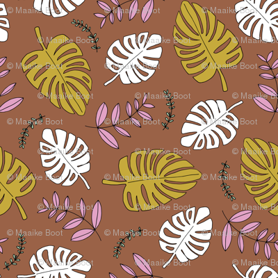 Botanical fall hawaii surf garden with monstera and palm leaves copper mustard ochre