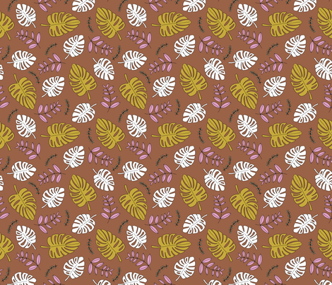Botanical fall hawaii surf garden with monstera and palm leaves copper mustard ochre fabric by littlesmilemakers on Spoonflower - custom fabric