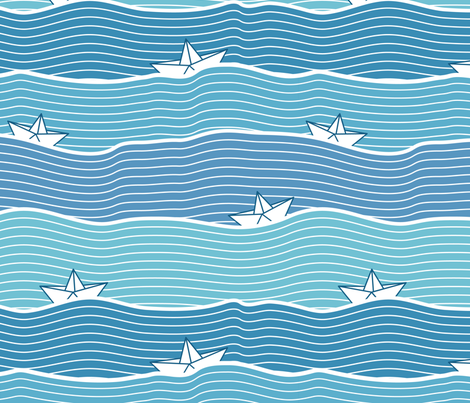 Paper Boats (on blue) fabric by ruthenia on Spoonflower - custom fabric