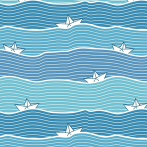 Paper Boats (on blue)
