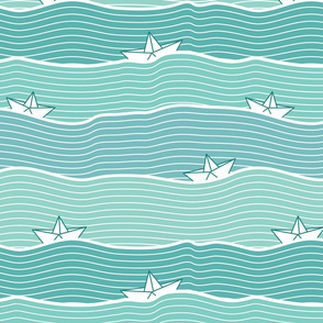 Paper Boats (on green)
