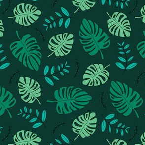 Botanical winter hawaii surf garden with monstera and palm leaves green dark winter