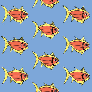 """FI_7506_D """"Necklace Fish"""" of curves and necklace, bass orange and yellow on blue background"""