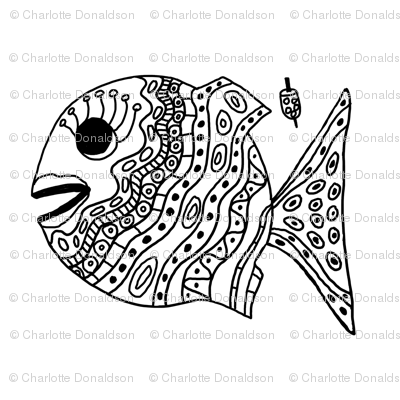 "FI_7507__L ""Cheerful Fish"" of shapes and decorations black and white"