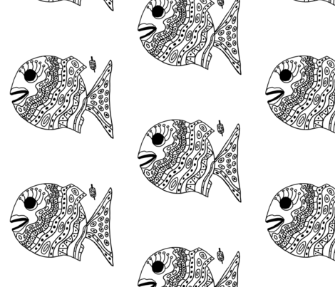 "FI_7507__L ""Cheerful Fish"" of shapes and decorations black and white fabric by charlotte_donaldson_fabrics on Spoonflower - custom fabric"