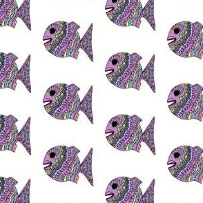 "FI_7507_A ""Cheerful Fish"" of shapes and decorations colorful with orchid, yellow, turquoise and fuchsia pink"