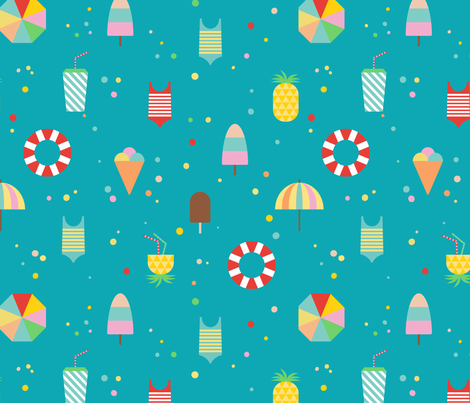 Vacation Time (on turquoise) fabric by ruthenia on Spoonflower - custom fabric