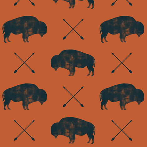 distressed buffalo and arrows (black on adventure orange) fabric by littlearrowdesign on Spoonflower - custom fabric