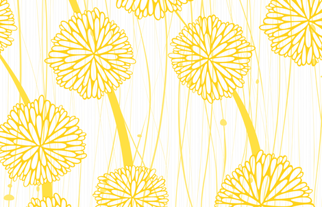 Pom Poms - Large White + Yellow  by Friztin fabric by friztin on Spoonflower - custom fabric