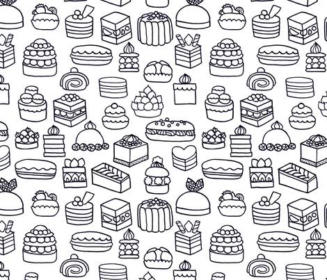 Patisserie {Colouring In} fabric by ceciliamok on Spoonflower - custom fabric