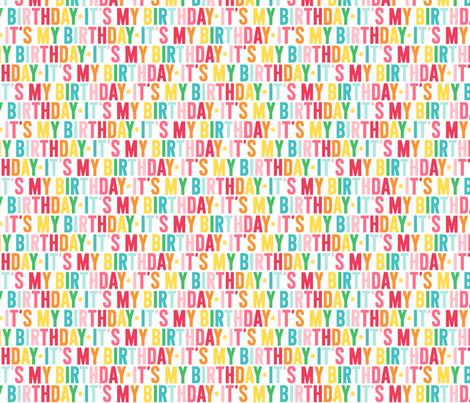 it's my birthday // rainbow with light pink fabric by misstiina on Spoonflower - custom fabric
