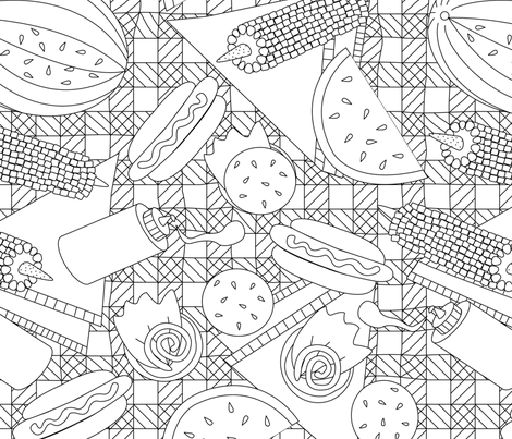 Summer Picnic Coloring Book fabric by thepurplepeach on Spoonflower - custom fabric