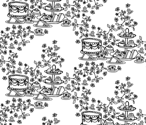 Tea Time Vines fabric by christiebcurator on Spoonflower - custom fabric