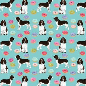 SMALL - english springer spaniel donuts fabric blue pink pastel dogs english springer spaniels dog design springer spaniels dog