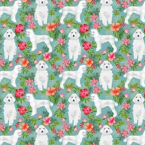 SMALL - poodle fabric white poodle design hawaiian tropical design - light blue