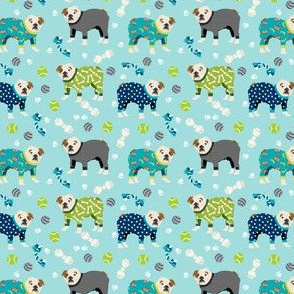 SMALL - english bulldog pajamas dog breed cute fabric