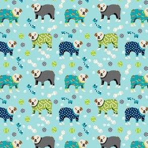SMALL - english bulldog pajamas dog breed cute fabric