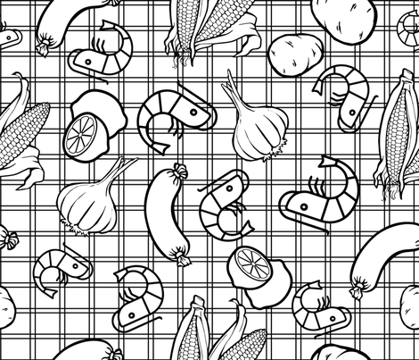 Shrimp Boil Coloring Page fabric by kfrogb on Spoonflower - custom fabric