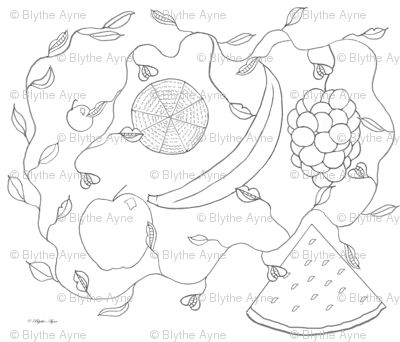 Fruits-line drawing for Spoonflower
