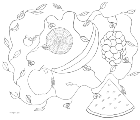 Fruits-line drawing for Spoonflower fabric by blythe_ayne's_fabric_designs on Spoonflower - custom fabric